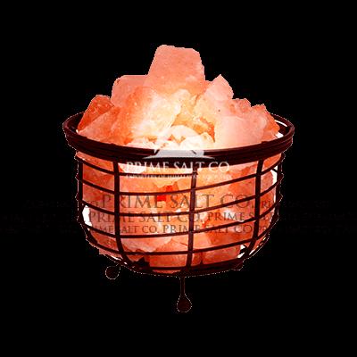 Himalayan Salt Bowl Iron Basket Lamp