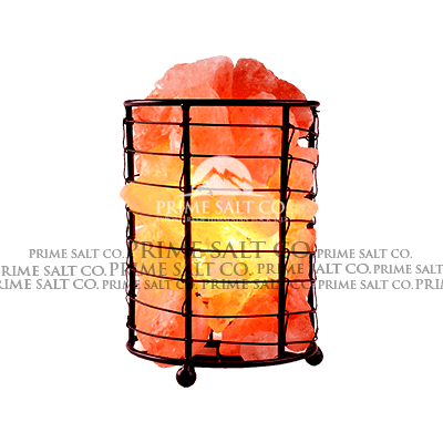 Himalayan Salt Cylinder Iron Basket Lamp