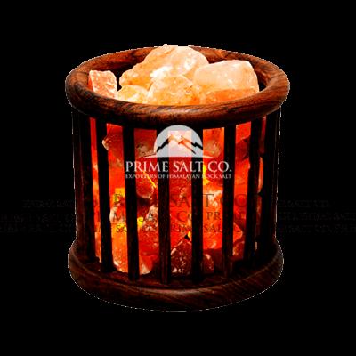 Himalayan Salt Cylinder Wooden Basket Lamp