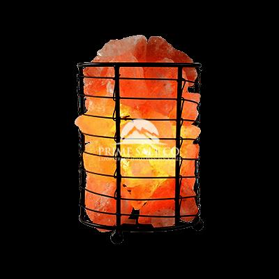 Himalayan Rock Salt Iron Basket Lamp